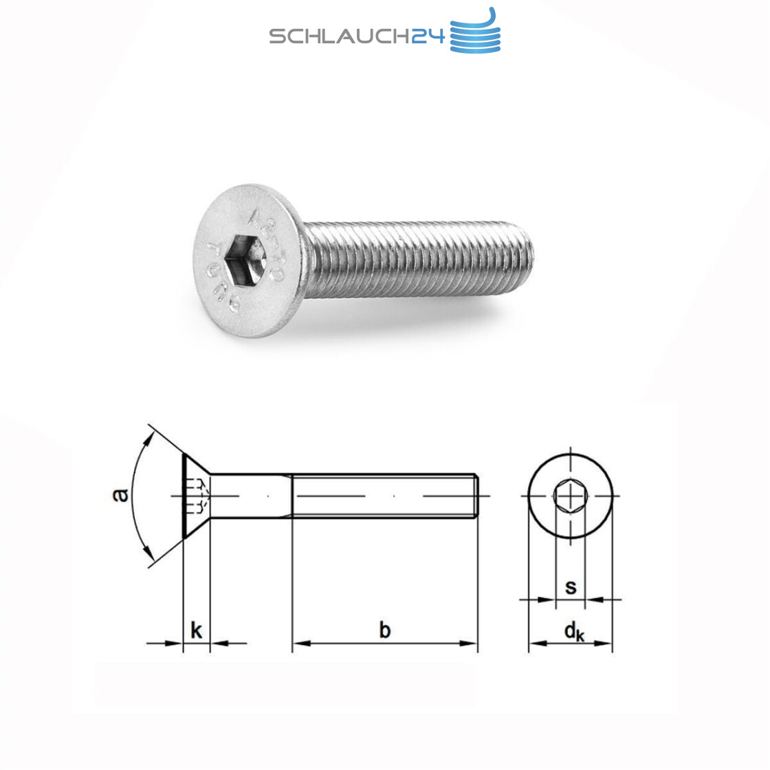 50 Edelstahl V2A Innensechskant Senkkopfschrauben ISO 10642 A2 M12x70