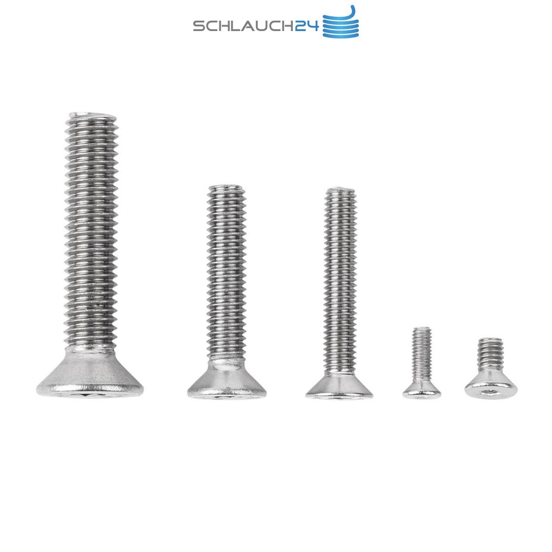 Senkschrauben mit Innensechskant und Vollgewinde VA // V2A Werkstoff A2 100 Senkkopfschrauben Edelstahl M5 x 16 mm ISO 10642 // DIN 7991